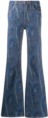 Etro Flared Paisley Print Jeans