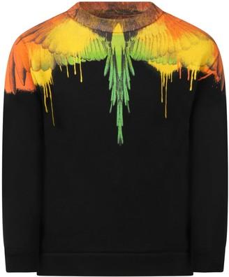 Marcelo Burlon County of Milan Black Sweatshirt For Boy With Iconic Wings