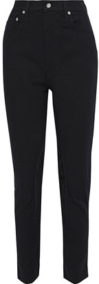 Helmut Lang Femme Hi Rider Suede-appliqued Cotton-blend Twill Slim-leg Pants