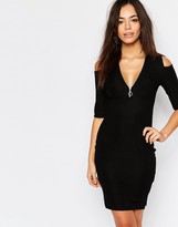 Daisy Street Zip Front Bodycon Dress With Cold Shoulder