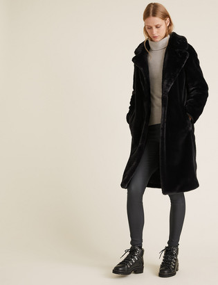 Marks and Spencer Faux Fur Longline Coat
