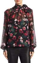 Saks Fifth Avenue COLLECTION Floral-Print Silk Neck Tie Blouse