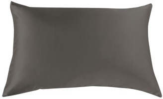 Royal Comfort Luxury Silk Pillow Case & Duck Feather Pillow Twin Set Charcoal