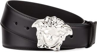Versace Men's Leather Medusa-Buckle Belt
