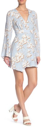 BCBGMAXAZRIA Long Sleeve Floral Print Dress