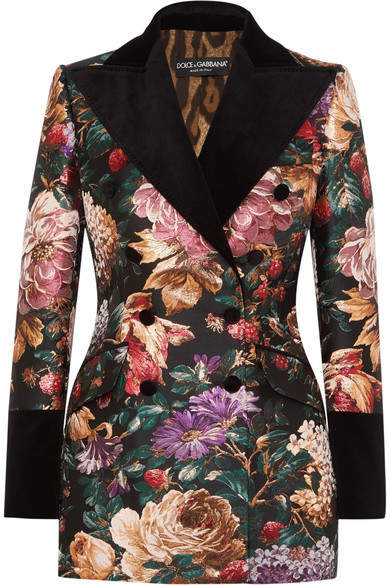 Dolce & Gabbana Double-breasted Velvet-trimmed Floral-jacquard Blazer - Black
