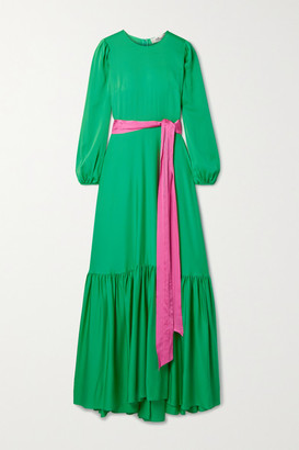 Diane von Furstenberg Amabel Belted Silk-blend Crepe Maxi Dress - Green