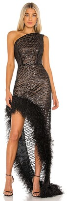 Bronx and Banco Lola Sheer Feather Gown