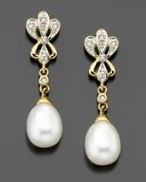 14k Gold Cultured Freshwater Pearl & Diamond Accent Drop Earrings
