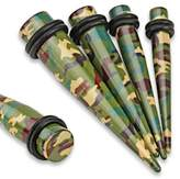 WildKlass Jewelry Green/Brown Camouflage Printed Acrylic WildKlass Taper with O-Rings (Sold as a Pair)