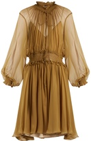 Chloé Ruffle-trimmed smocked silk dress