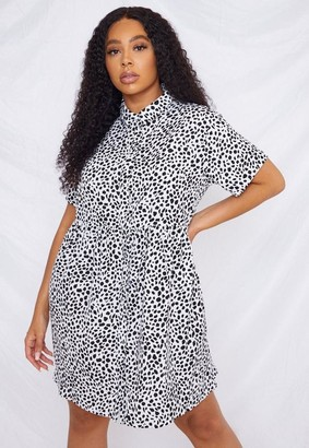 Missguided Plus Size White Dalmatian Print Shirt Smock Dress