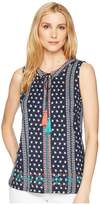 Tribal Printed Jersey Sleeveless Top with Embroidery Detail Women's Sleeveless