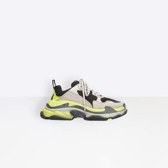 Balenciaga Triple S in grey, neon yellow and white leather, nubuck, mesh and stretch mesh