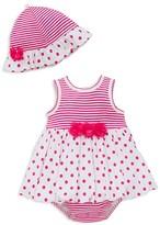 Little Me Girls' Striped Dot Dress & Hat Set - Baby