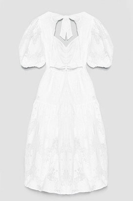 Nasty Gal Womens Lace Dance Puff Sleeve Midi Dress - Tan - 4, Tan
