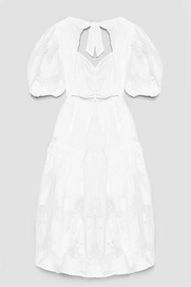 Nasty Gal Womens Lace Dance Puff Sleeve Midi Dress - Tan - 4