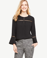 Ann Taylor Lace Detail Flare Sleeve Top