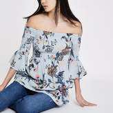 River Island Womens Blue floral shirred bardot bell sleeve top