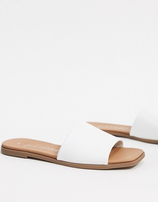 New Look leather look square toe flat mules in white