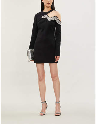 David Koma Bead-embellished cut-out stretch-crepe mini dress