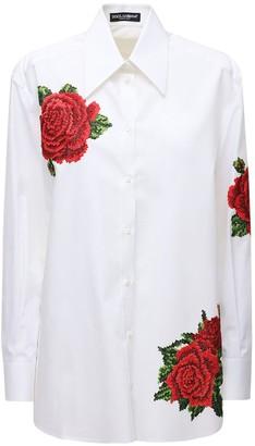 Dolce & Gabbana Over Cotton & Silk Poplin Shirt W/ Roses