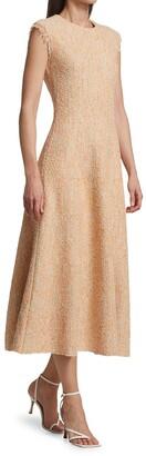St. John Boucle Tweed Knit Midi Dress