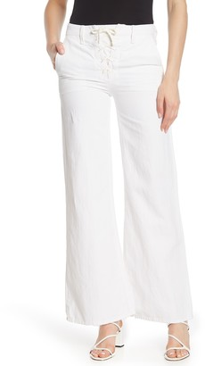 Mother The Tie-Up Roller Wide Leg Twill Pants