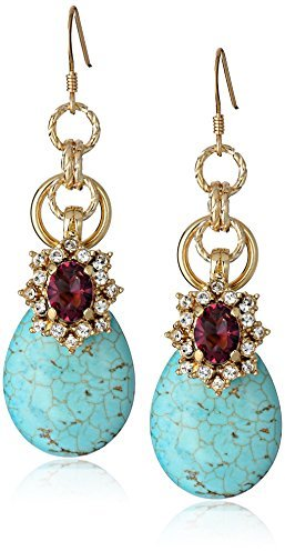 "Anton Heunis Anthony and Cleopatra"" Turquoise and Purple Crystal Drop Earrings"