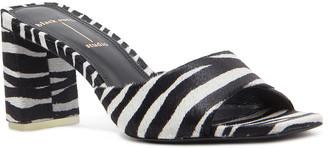 Black Suede Studio Delia Calfskin Block-Heel Sandals