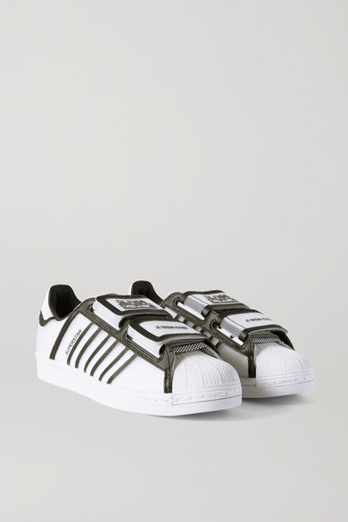 adidas + Ji Won Choi + Olivia Oblanc Superstar Faux Leather And Mesh Sneakers - White