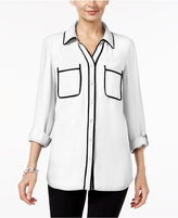 NY Collection Contrast-Trim Utility Shirt