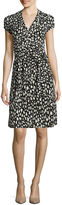 Liz Claiborne Cap-Sleeve Leopard-Print Wrap Dress
