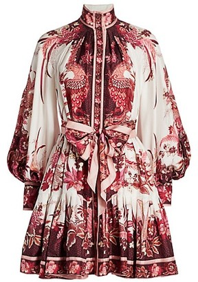 Zimmermann Wavelength Blouson-Sleeve Silk Dress