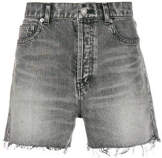 Saint Laurent Ripped Short Denim Shorts