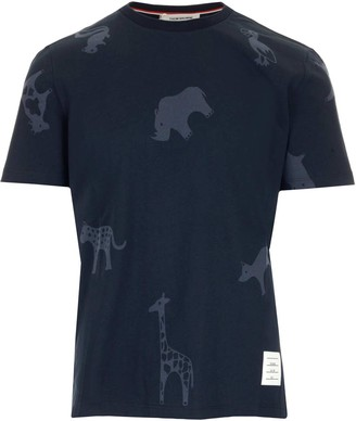 Thom Browne Animal Print Crew-Neck T-Shirt