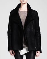 Helmut Lang Wrecked Shearling Zip Coat