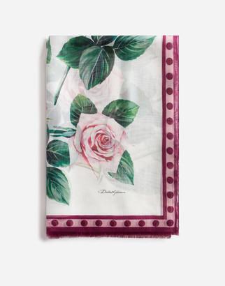 Dolce & Gabbana Tropical Rose Print Mixed Silk Scarf 135 X 200