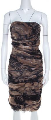 Diane von Furstenberg Brown Silk Chiffon Strapless Lele Dress S