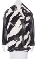 Moschino leather and rabbit motorcycle jacket