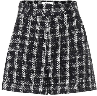 MSGM Checked cotton-blend tweed shorts