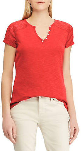 Chaps Short-Sleeve Knitted Lace Cotton Henley