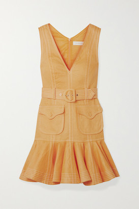 Zimmermann Super Eight Tiered Belted Linen Mini Dress - Saffron