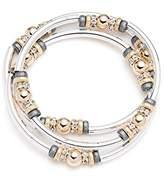 Nine West Tri-Tone Silver, Gold and Hematite Set of 3 Stretch Bangle Bracelets