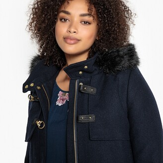 La Redoute Collections Plus Wool Mix Duffle Coat with Faux Fur Hood