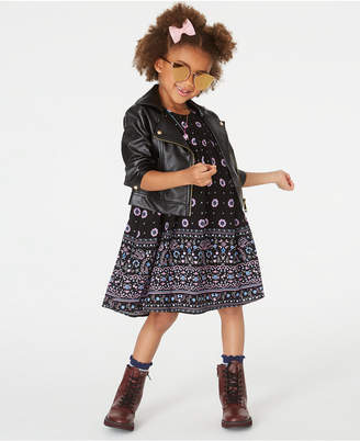Blueberi Boulevard Toddler Girls Faux-Leather Moto Jacket & Printed Dress Set
