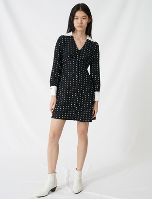 Maje Polka dot dress with contrasting details