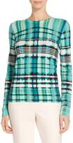 St. John Ombre Plaid Overprinted Cashmere Knit Sweater