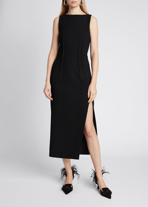 Altuzarra Boat-Neck Wool Pintucked Midi Dress