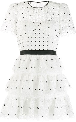 Self-Portrait tiered polka-dot dress